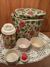 Vintage oval floral print vinyl plastic lunchbox with zipper Thermos and 2 cups