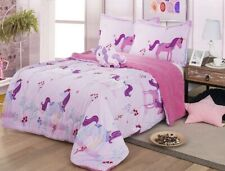 UNICORN TEENS KIDS GIRLS BLANKET WITH SHERPA VERY SOFTY AND WARM 4PCS FULL SIZE