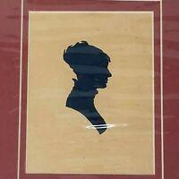 Vintage Silhouette Black Victorian Era Young Lady Print Original Print Matted