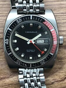 1960s CARAVELLE by BULOVA AUTOMATIC 666 FEET DIVER STEEL ORIGINAL DIAL DAY DATE