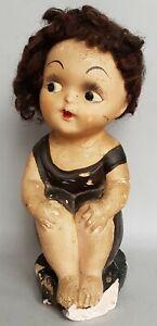 POUPEE ART DECO 1930 / 40'S EN CERAMIQUE STYLE KEWPIE / VINTAGE DOLL WITH HAIR