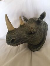 Beautiful Wall Mount Resin Rhino Head Plaque Decor Hand Painted