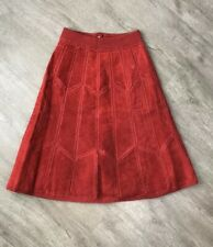 Vintage Cowhide Leather Patchwork Skirt Red Size 7/8 BoHo Hippie A Line