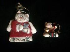 2 Lot Eddie Walker Christmas xmas Kitty Cat Angel Mouse Peace Halo Ornaments