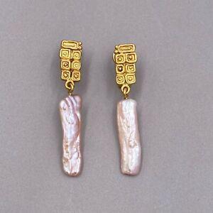 Estate Solid 18k Yellow Gold Pierced Dangle Pearl Earrings ~ Unique ~ 8.38 grams