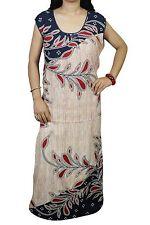 "Indiatrendzs Women Cotton Nighty Printed Beige/Blue Sleeveless Night Wear 48"""