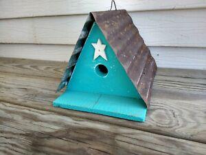 Wonderful Birdhouse Bird House Amish Hand Made Primitive NEW Wren Light Blue