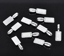 50Pcs Silver Plated Tag Glue on Bail Jewelry DIY Repair Charms Fashion 21x7mm