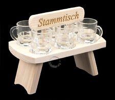 SCHNAPS STAMMTISCH MIT 6 GLÄSER SCHNAPSLATTE SCHNAPSLEISTE Schnapsbrett Stamper