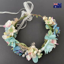 White Green Pink Flower Floral Wedding Bridal Beach Headband Hair Crown Garland