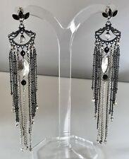 Sterling Silver Tassel Fringe Chain Earrings Super Long 5 Inch - Onyx Ear Post