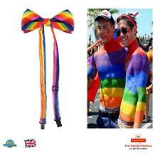 GAY PRIDE BOW TIE Rainbow Bow Tie Men Satin Novelty Tie Fancy Dress Pre Tied UK