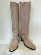 MODA IN PELLE LIGHT PINK SUEDE KNEE HIGH HEELED BOOTS SIZE 5/38