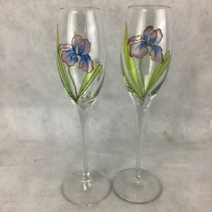 Hand Painted & Signed Purple Iris Crystal Toasting Flutes One Pair