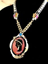 NWT BETSEY JOHNSON FAUX PEARL RHINESTONE NECKLACE ART DECO PINK CAMEO PENDANT