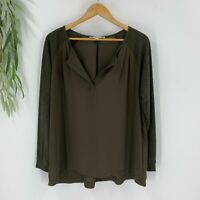 Ann Taylor Loft Womens Blouse Top Shirt Size Medium M Green Long Sleeve V-Neck