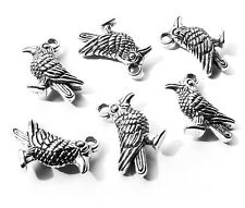 6 x Quality Raven Crow Black Bird Charms Pendant 18mm Silver Plated, Wicca Craft