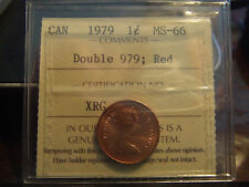 CANADA ONE 1 CENT 1979, ULTRA STRONG DOUBLE 979, ICCS MS-66 !!!!!!
