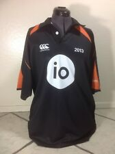 CANTERBURY Polo Shirt Men Size XL Rugby Black Jersey 2013 IO Johnson 328
