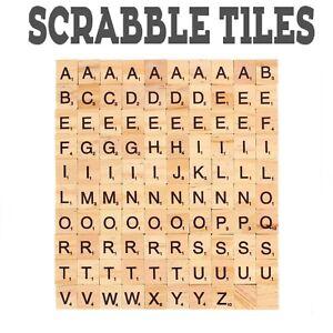 100Pcs Scrabble Tiles Wood Craft Scrabble Letters Word Tiles A-Z Words Arts Draf
