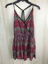 Band of Gypsies Red Floral Romper Size Large Sleeveless Adjustable Straps E14