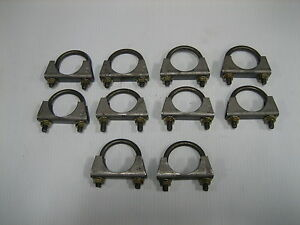"(10) 2-1/2"" Muffler Clamp Steel with Nuts, Un-plated. Made in USA."