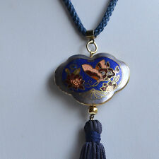 VINTAGE CHINESE EXPORT NECKLACE CLOISONNE PENDANT DOUBLE SIDED Butterfly Blue