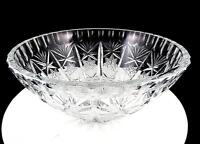 """BRILLIANT CUT HEAVY CRYSTAL FROSTED HOBSTAR FAN AND THUMBNAIL 8 3/4"""" BOWL"""