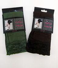 Leggings Strumpfleggings 2 Stück mit Spitze S/M braun & olivgrün für Damen