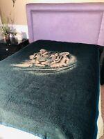 VTG Biederlack Tiger Head Green & Tan Blanket Reversible 74 x 55 Made in USA EUC