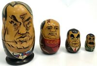 "RARE Vintage 8"" Khrushchev Gorbachev Cold War Communists Russian Nesting Doll"