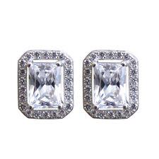 Diamond-Unique Emerald Cut Halo  Silver Rhodium Platinum Stud Earrings 50808