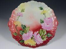 Antique Haviland Limoges France Cabinet Plate Charger Handpainted Flowers Mums