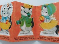 Vtg 3 Little KITTENS 3 Fold Stand Up CATS 3rd BIRTHDAY DoubleSide GREETING CARD