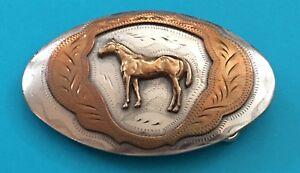 💥SALE💥 Vintage Western Flair American HORSE German Silver Cowboy BELT BUCKLE