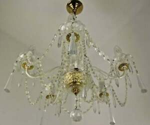 Vintage French Gold Metal & Glass 5 Light Chandelier Adorned With Crystals 2662