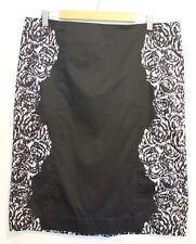 SPORTSCRAFT SIGNATURE ~ Black White Geometric Stretch Cotton Pencil Skirt 16