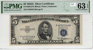 $5 1953A Silver Certificate Fr# 1656 FA Block PMG UNC 63 EPQ Priest Anderson