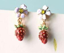 Les Nereides STRAWBERRY Fruit Berry Flower Crystal 14k GP Enamel Earrings