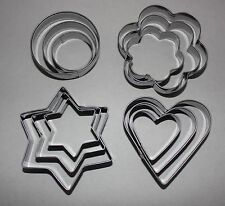 STAR-BLOSSOM-HEART-ROUND Metal Cutters 12 Pack Sugarcraft Baking Cake Decorating