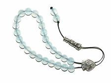 0017 Loose Strung Greek Komboloi Prayer Worry Beads 25 x 8mm Aquamarine Glass