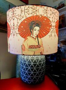 Medium Japanese Geisha 3 Drum Decoupage Table Lampshade NightLight Handmade Gift