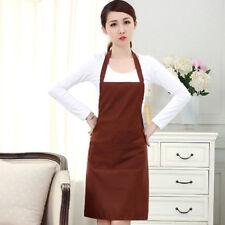 Fashion Men Women Solid Cooking Kitchen Restaurant Bib Apron Dress with Pocket