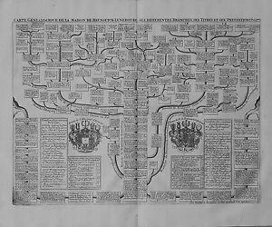 Antique map, Carte genealogique de la maison de Brunsuick-Lunebourg