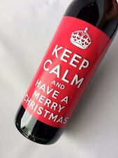 KEEP CALM HAVE A MERRY CHRISTMAS WINE or NON ALCOHOLIC BOTTLE GIFT PRESENT LABEL