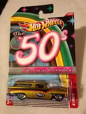 """2011 Hot Wheels Cars of the Decades The 50's Gold 8 Crate """"Phil's Body Shop"""" NOC"""