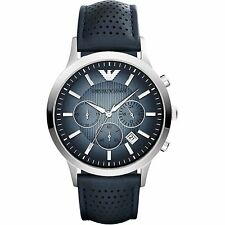 NEW EMPORIO ARMANI AR2473 SILVER LEATHER NAVY CHRONOGRAPH MEN'S WATCH - 2473