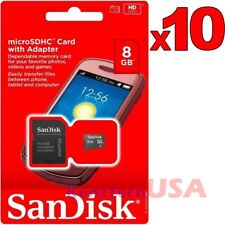 Lot of 10 SanDisk 8GB Class 4 Micro SD Micro SDHC TF T-Flash Memory Card Adapter