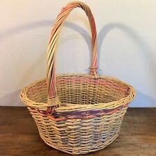 "Large 16x7"" ROUND Natural Rattan Cane WICKER BASKET Handle Gift Fruit Display"