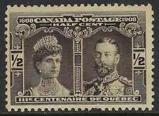 Scott 96 - 1/2c Black 1908 Quebec Tercentenary Prince of Wales short perf FVFNH
